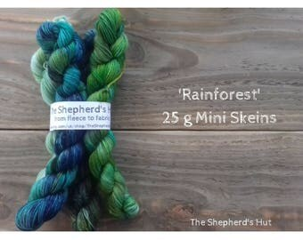 Superwash Merino/Nylon 80/20 Sock yarn Minis 4 x 25 g in 'Rainforest' colour way.