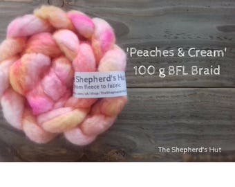 BFL hand dyed braid in' Peaches and Cream' 100 g  3.5 oz