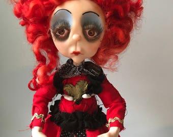 The queen of hearts, alice in wonderland, ooak, one of a kind, ooak doll, one of a kind doll, horror doll, scary doll, ooak art doll,