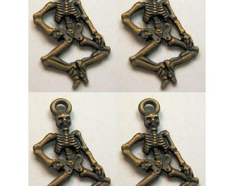 Qty 4 Small Skeleton Finding Bronze Antiqued Color Charm