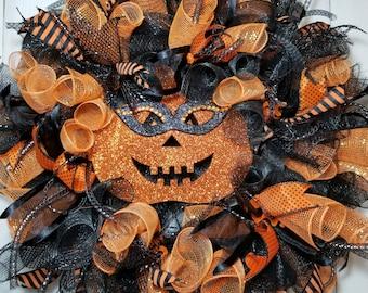 Pumpkin Wreath, Halloween Wreath, Sassy Pumpkin Wreath, Fall Wreath, Funky Pumpkin Wreath, Funky Halloween Wreath, Front Door Wreath