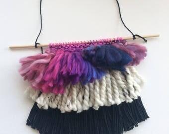 Pink and Purple Fringe Weaving // Fringe Weaving // Tassel Weaving // Boho Woven Wall Hanging // Woven Wall Hanging // Textile Fiber Art