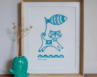 Cat Screen Print - Hand Screen Printed, Screen Print, Cat Print, Kitten Print, Animal Print, Blue, Pink, Birthday Gift, Housewarming Gift,