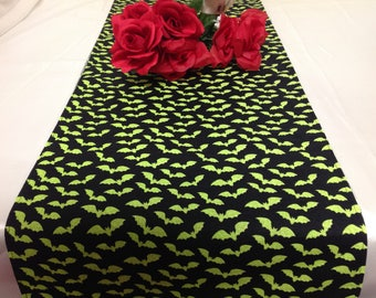 Halloween Tablerunner in Lime Green Bats on Black Background, Dining  Room Tablerunner Kitchen, Buffet, DresserHalloween Party