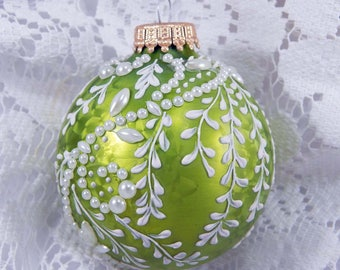 Mud Ornament. Green Glass Ornament. Painted Ornament. Hand Painted Ornament. Holiday Ornament.