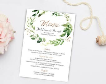 Greenery Wedding Menu, Wedding Menu, Printable Wedding Menu, Wedding Menu Cards, Greenery Wedding, Wedding Menu Template, Greenery menu