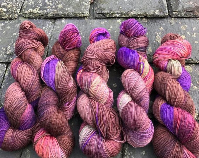 100g Superwash Merino / Nylon Sock Yarn 4 ply, fingering, hand dyed, brown, purple, green, orange, variegated, autumnal, deep dark wood