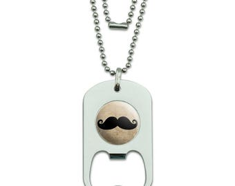 Curly Mustache Military Dog Tag Bottle Opener Pendant