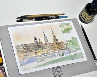 Dresden, church and Castle, feather drawing, watercolour, original by Wolff-Rosary