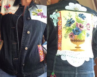 Denim Jacket Upcycled Reclaimed Recycled Embellished Tapestry