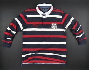 Tommy Hilfiger T shirts Multicolor Stripes Size XL Chest Scripts Patch Logo Button Neck Street Casual