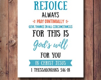 50% OFF Bible Verse Print, 1 Thessalonians 5:16-18, Christian Decor, Rejoice Always Pray Continually, Bible Verse Poster, Scripture