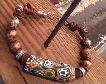 Antique African trade bead bracelet