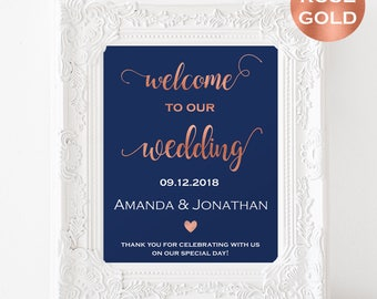Welcome to our wedding sign - Navy Welcome wedding sign instant download  - Navy and rose gold wedding - Downloadable wedding #WDH89RNW