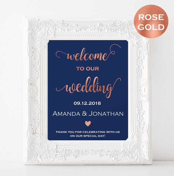 Navy and rose gold wedding Welcome sign