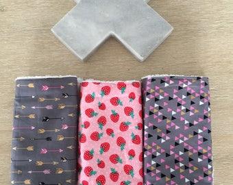 Baby burp cloth / dribble cloth - set of 3