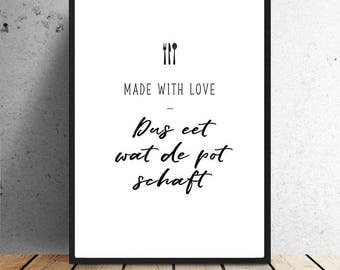 Poster, Made with love, eat what the pot is abolishing, dinner, food, black/white, monochrome, spoon, fork, knife, print, wall decoration, kitchen