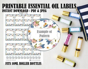 Printable Essential Oil Labels - 10ml Rollerball Labels Floral Pattern