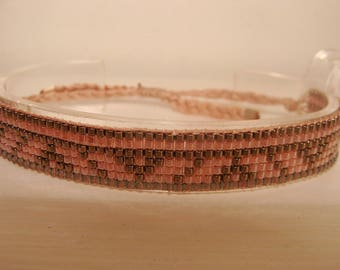 Old antique silver and pink delica miyuki Pearl woven bracelet