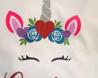 Valentines unicorn shirt, Valentines shirt, personalized unicorn shirt, unicorn shirt, unicorn bodysuit, unicorn face