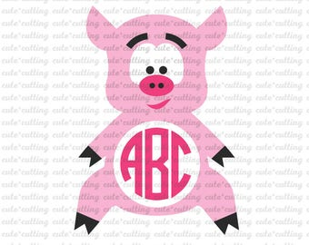 Pig monogram svg, Animal monogram svg, pig svg, animal svg dxf jpeg cutting file for Silhouette Cameo, Portrait, Curio, Cricut