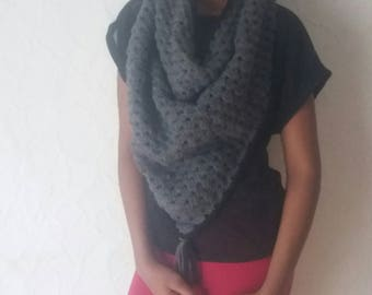 Crochet Scarf, Charcoal Triangle scarf