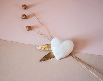 PORCELAIN - HEART BROOCH