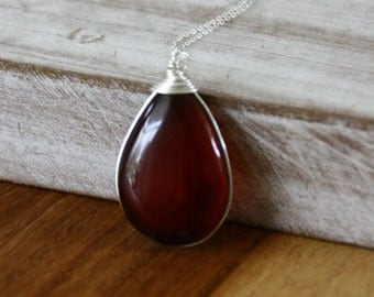 Red Agate necklace,Agate silver necklace,dainty necklace,minimalist necklace,gift for her,silver jewelry,Red Stone Necklace,Positiva Jewelry