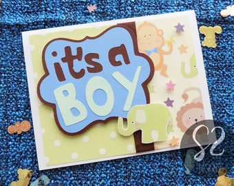 Handmade Baby Boy Animal Card