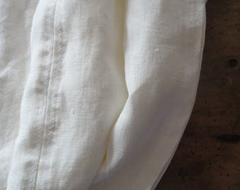 white LINEN throw, handmade from white linen in different qualities _ heavy, midi-weight or light