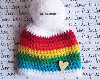 Rainbow Baby beanie/Rainbowbaby/Rainbow hat/Rainbow gift/Baby gift/Baby shower gift/Crochet Rainbow hat/Infant hat/rainbow baby