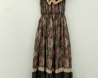 1970s vintage peasant maxi dress