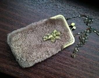Brass Fur Metal Chain Glass Beads Cherub Purse Small Wear Over Neck Handmade Handbag