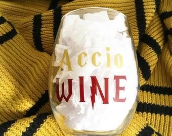 Accio Wine Stemless Wine Glass | Harry Potter Inspired | Wizarding World | Witch | Wizard | Butterbeer | Potterhead | Gift | Wine | Barware