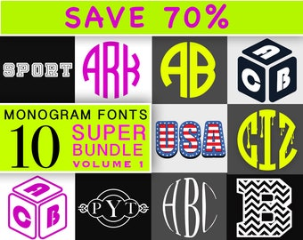 Monogram SVG Monogram Font svg Monogram Font Bundle svg DXF for Silhouette and Cricut - 107
