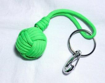 Neon Green Paracord Key Chain, Paracord Monkey Paw Key Chain,  Monkey Paw Knot Key Chain, Lightweight Paracord Key Chain, Handmade Key Chain