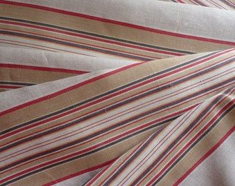 """RESERVED SOLD RESERVED  Antique French ticking fabric/red white black stripe ticking/original / French textile cutter peice 50"""" x 80"""""""