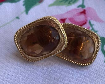 Vintage Sarah Coventry Amber Clip Earrings