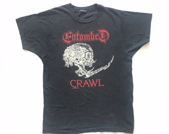 1991 Entombed vintage band Tshirt - M/L - Cannibal Corpse, Morbid Angel, Deicide, napalm Death, Carcass