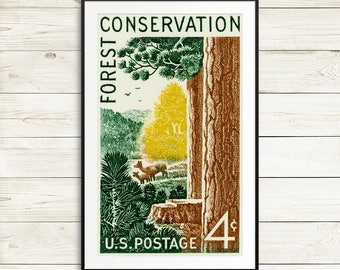 Outdoors gift, Forest Conservation wall art, conservationist gift ideas, ecofriendly posters, nature posters, vintage national park posters