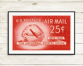 vintage airplane wall art, airplane art, air mail postage stamps, retirment gifts for pilots, postage stamps, mail stamps, airplane wall art