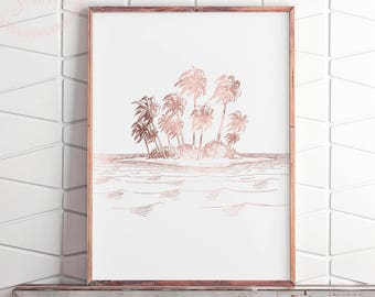 Palm Tree Wall Print, Printable Palm Tree Art, Pink Gold Wall Art, Rose Gold Print, Palm Tree Print Art, Rose Gold Wall Art, Palm Downloads