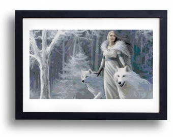 Winter princess with wolves (Cross stitch embroidery pattern pdf)