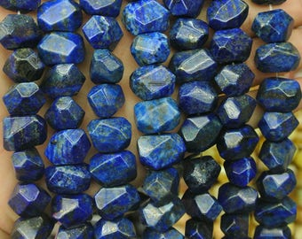 Natural Lapis Lazuli faceted chip nugget gemstone beads,15 inches full strand