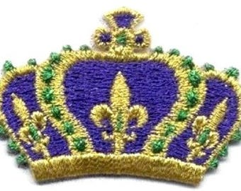 MARDI GRAS CROWN iron on patch applique