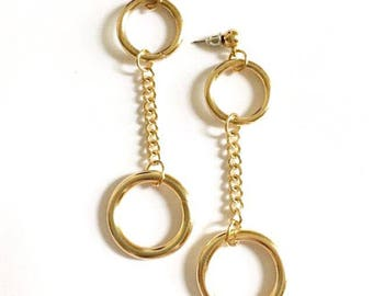 Double O Gold Ring Studs