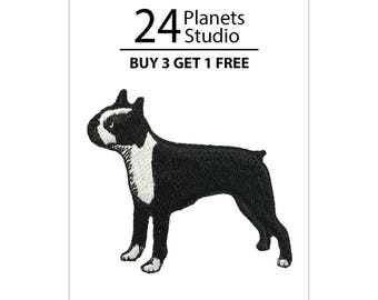 Boston Terrier Iron on Patch by 24PlanetsStudio Cute Applique Cute Patch dog patch dogs