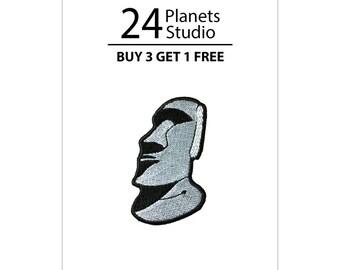 Mini Moai Gray Iron on Patch by 24PlanetsStudio