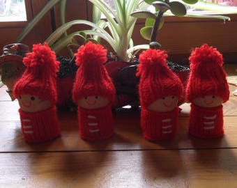 set of four happy red Elves
