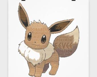 Poster Pokemon EEVEE on this 16 x 16 Poster Flareon, Jolteon, Espeon, Umbreon, Vaporeon Evolve from Eevee Pocket Monster Fan Wall Art